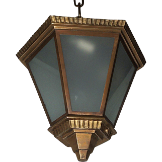 Art Deco Bronze Frosted Glass Hexagon Flush Mount Pendent Fixture