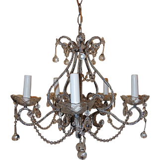 Silver Gilt Crystal Beaded Bagues Jansen Style Transitional Chandelier