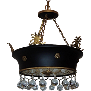 French Empire Doré Bronze Tole Basket Frosted Neoclassical Chandelier Fixture