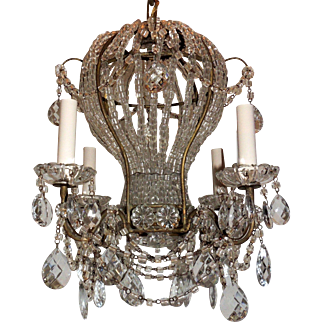 Vintage Italy Gilt Beaded Crystal Hot Air Balloon Chandelier Fixture