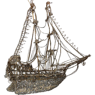 Vintage Large Italian Crystal Beaded Gilt Boat Chandelier Ship