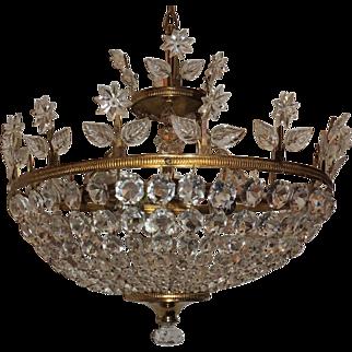 Gilt Bronze Crystal Bead Floral Bowl Basket Chandelier Flush Fixture