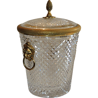 Vintage Lion Handle Dore Bronze Cut Crystal Ice Bucket with Lid