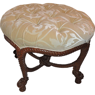 French Wood Rope Tassel Bow Tufted Ottoman Round Bench Stool Pouf