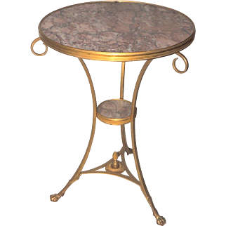 Neoclassical Bronze Ormolu Gilt Rouge Marble Louis XV1 Gueridon Table
