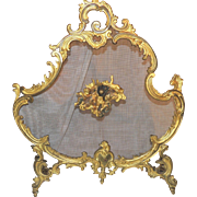 French Gilt Doré Bronze Fire Place Screen Trion Of Cherubs Firescreen