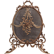 French Dore Bronze Oval Fire Place Screen with Ribbon Swags Flowers Fire Place Screen