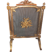 French Doré Bronze Musical Ormolu-Mounted Fireplace Screen FireScreen