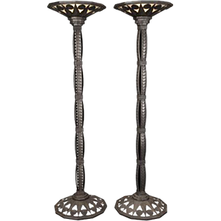 Wonderful Large Pair French Art Deco Patinated Bronze Iron Floor Lamps Torchère