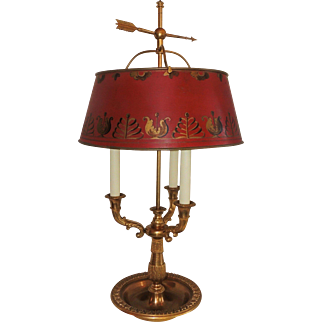 Pair of French Bronze Neoclassical Bouillotte Three Light Lamps Red Tôle Shades