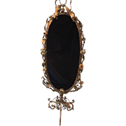Bow Top Gilt Filigree Flower Floral Tole Double Sided Cheval Mirror