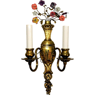 French Gilt Dore Bronze Porcelain Flower Two-Arm Urn Petite Sconces