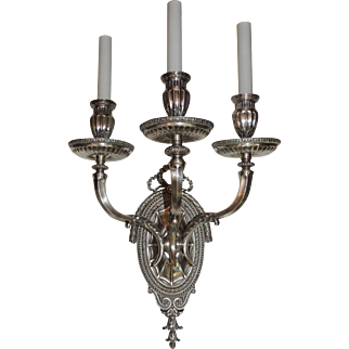 Pair Caldwell Silvered Bronze Three-Arm Filigree Bow Regency Sconces