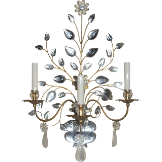 Vintage Set Four Rock Crystal Three-Arm Urn Form Sconces