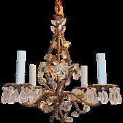 Vintage Rock Crystal Six-Light Bronze Chandelier Fixture