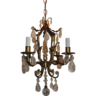 Petite Gilt Bronze Pagoda Rock Crystal Four-Light Tole Chandelier