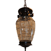 French Bronze Lantern with Beveled Glass