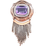 Classic Victorian Amethyst & Seed Pearl Brooch Set in 18K Gold