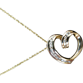 14K Yellow Gold & Diamond Heart Shaped Pendant & Chain