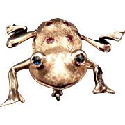 14K Gold, Sapphire & Ruby Frog Pin with Moveable Legs