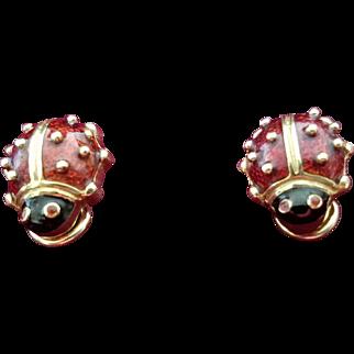 Hidalgo 750 (18K) and Enameled Lady Bug Clip-on Earrings