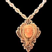 Victorian 14K Gold Coral Cameo Pin/Pendant