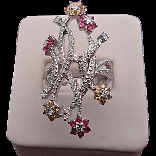 14K White Gold Diamond, Rose & Yellow Sapphire Ring - Appraised