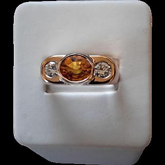 14K Gold, Diamond and Yellowish/Orange Sapphire Ring – GIA Cert & Appraisal