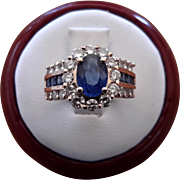 Diamond and Blue Sapphire Ring Set in 14K Yellow Gold - Appraised