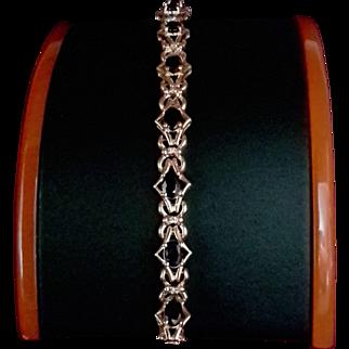 14K Blue Sapphire & Diamond Bracelet