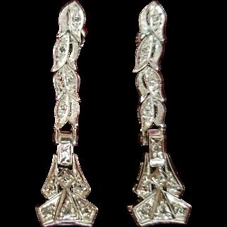 Elegant Deco-style .40 tcw Diamond Drop Earrings Set In 14K White Gold