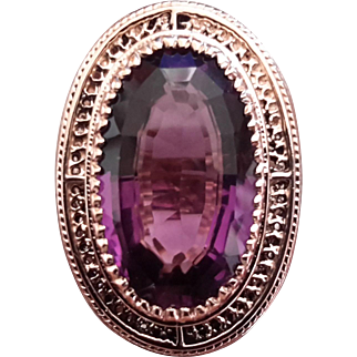 14K Yellow Gold Ring with 22 Ct. Purple Amethyst