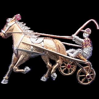 18K Gold Diamond & Ruby Horse, Jockey & Racing Cart Pin