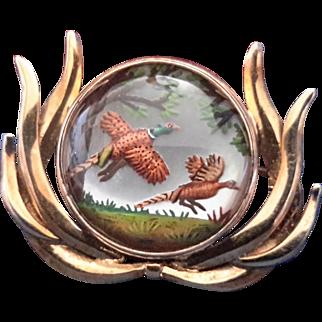 Reverse Carved Intaglio – Pheasants - 14K Gold