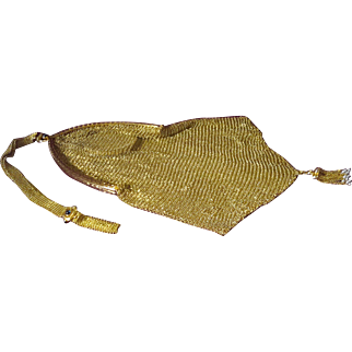 Rare Tiffany & Co 14K Gold (110.9 dwt) Edwardian Mesh Bag with Mirror and Sapphire Cabochons