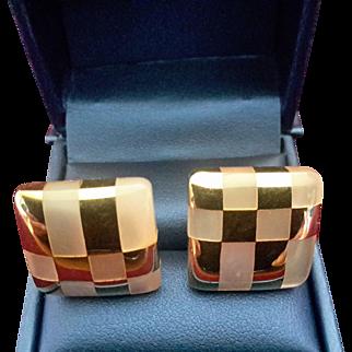Tiffany & Co Angela Cummings Design 18K Gold & Mother of Pearl Earrings