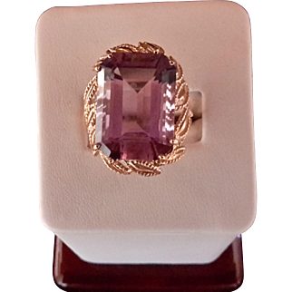 14K Gold Amethyst Ring with Open Work Setting