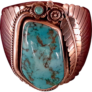 Sterling Silver & Turquoise American Indian Cuff Bracelet