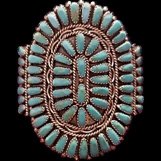 Bennie Bowekaty Zuni Turquoise Cuff Bracelet