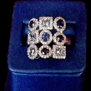 Uniquely Set Light & Dark Sapphires in 14K White Gold Ring