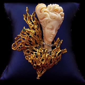 Elegant 18K Gold Cesare De Vecchi Pin with Carved Pink Coral,  Diamonds & Emeralds