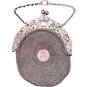Edwardian Sterling Silver Round Mesh Chatelaine Purse Circa Early 1900s