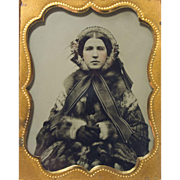 9th Plate Tinted Ambrotype, Original Seals: Period Winter Bonnet & Furs, Beautiful Detail