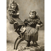 Counterbalanced, Darling Sisters in PLAID DRESSES, Multiple Hair Bows CABINET CARD PHOTO
