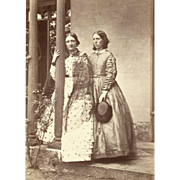 OUTDOOR PORTRAITURE 19TH Century FASHIONISTA Pair, FINE ART POSE on Porch of Family Home
