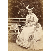 PAMPERED POOCH, Victorian Lady in BUSTLE DRESS, PET DOG, Outdoors in PARK 1870s CDV