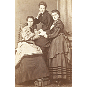 19th Century Ladies Period Fashions: Three Sisters Share a Book Artistic Composition CDV