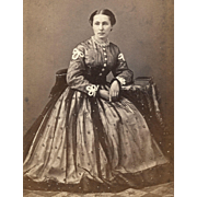 Beautiful 1860s Lady in MARVELOUS Hoopskirt Fashion with PHOTO ALBUM CDV