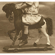 Child Rides ANTIQUE TOY HORSE Mounted on Wheels CDV Photo