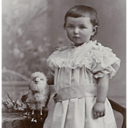 Darling Boy in White Dress, Arm Around Woolly White TOY SHEEP CDV
